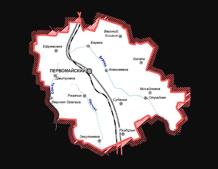 Карта Первомайщины